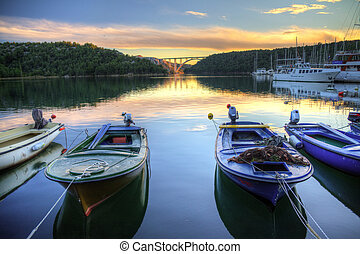 Skradin harbour - Fishermen boats in the harbour of Skradin...