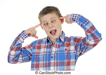 cross-eyed young child on white background