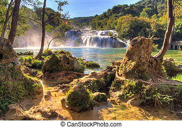 Krka falls - Beautiful view on the waterfall at the end of...