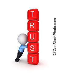 Trust concept.Isolated on white background.3d...