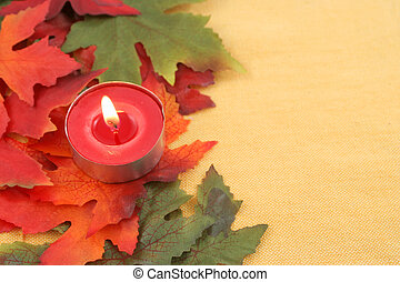 autumn leaf background or border frame in orange, red, and...