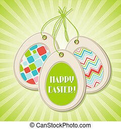 Easter greeting card with eggs.