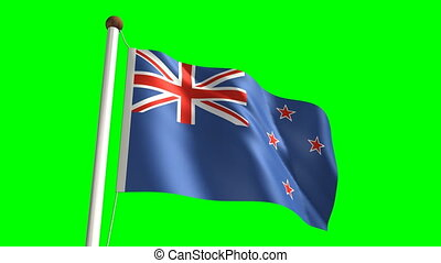 New Zealand flag video seamless green screen