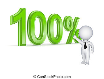 100% concept. - 100%.Isolated on white background.3d...