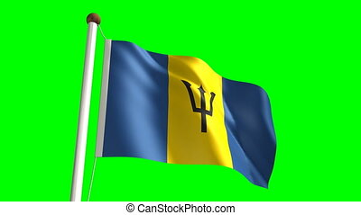 Barbados flag video (seamless & green screen)