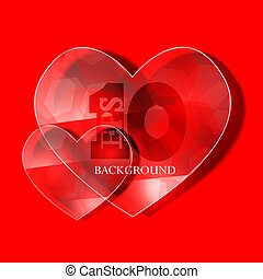 Vector glass heart on red background. Eps10