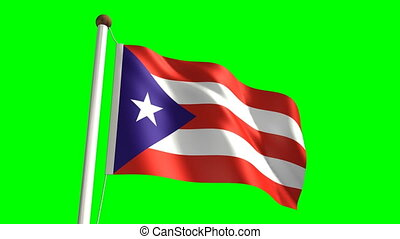 Puerto Rico flag video seamless green screen