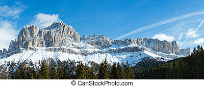 Winter rocky mountain panorama (Great Dolomites Road). -...
