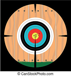 On Target - A target pinned to a fence as viewed through a...
