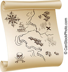 Pirate Treasure map - An illustration of a pirate treasure...