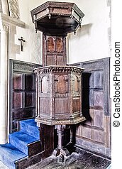 Pulpit - Wooden Pulpit with blue carpeted steps