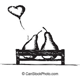 Love Pears on a park bench - line art of two in love pears...
