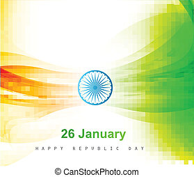 Indian flag color background with wave for Republic Day design