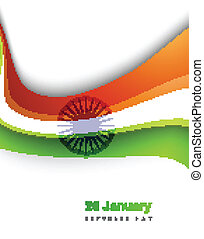 Indian flag stylish tricolor wave colorful vector