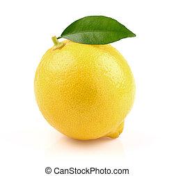 Juicy lemon with leaf