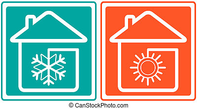 house with snowflake and sun home conditioner symbol -...