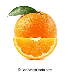 Juicy orange with slice