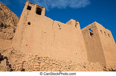 Morocco Kasbah - detailed view of Morocco Kasbah facade over...