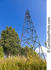 Geodetic points in Russia in sunny summer day