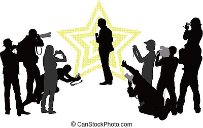 Celebrity - Group of people with camera and celebrity Vector...