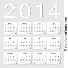 European 2014 calendar - European 2014 vector calendar with...