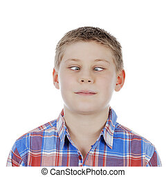 cross-eyed young boy on white background