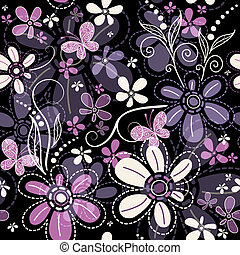 Repeating dark floral pattern - Repeating black floral...