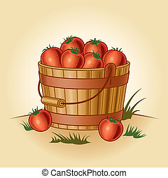 Retro bucket of tomatoes in woodcut style. Vector...