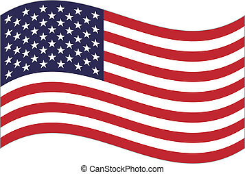 US flag - United States  flag waving. Vector