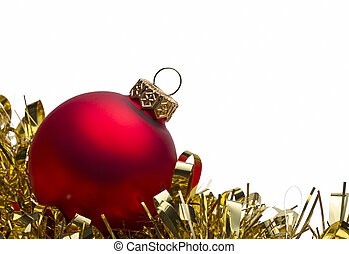 Red christmas bauble with gold tinsel on white background