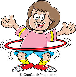 Cartoon girl with a hula hoop - Cartoon illustration of a...