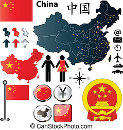 China map - Vector of China set with detailed country shape...