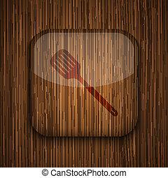 vettore, legno, App, icona, legno, fondo, Eps10