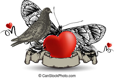Emblem with bird dove and heart, a butterfly and roses. Vector illustration.