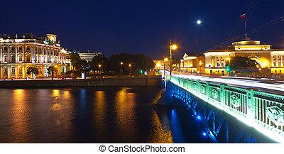 View of St Petersburg in night - View of St Petersburg...