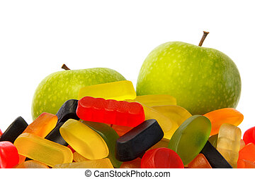 Choose: pile of candy or two apples - Choose: pile of candy...