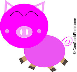 Cartoon cute pink Pig  isolated on white
