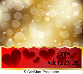 Happy Valentines Day heart card with heart abstract gold...