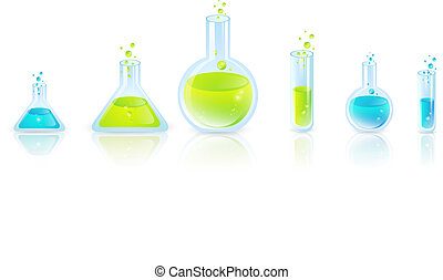 Test Tubes - Laboratory glassware: Test Tubes With Green and...