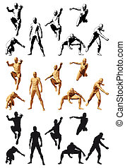 Super Hero - Super hero silhouette varius poses, color and...