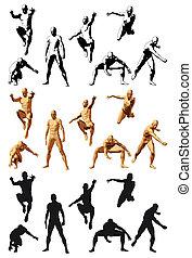 Super Hero - Super hero silhouette varius poses, color and...