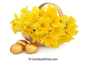 Easter Flower Basket - Easter egg group with basket of...