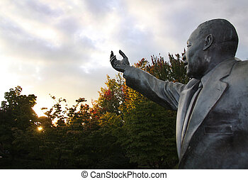 Martin Luther King Jr Statue at sunrise.