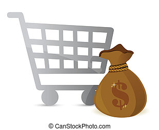 Shopping Cart & Money Bag Sign illustration design over...