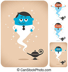 Business Assistant - Genie coming out of magic lamp. The...