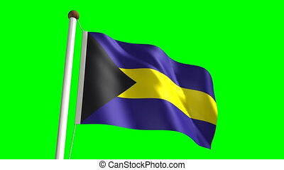 Bahamas flag video (seamless & green screen)