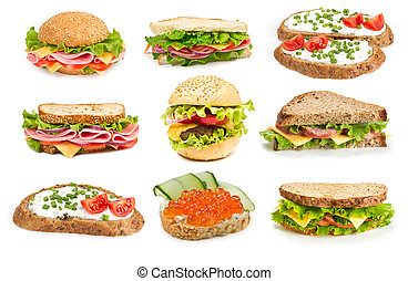 Collage of sandwiches - Collage of sandwiches isolated on a...