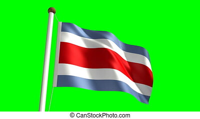 Costa Rica flag video seamless green screen
