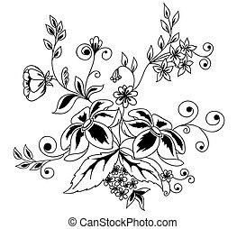 hermoso, floral, elemento, blanco y negro, flores, hojas,...
