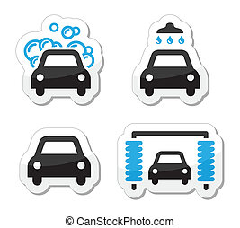 Car wash icons set - vector - Modern black and blue labels -...